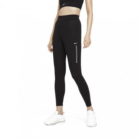 Nike Leggings A Vita Alta Swoosh Nero Donna