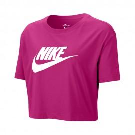 Nike T-Shirt Crop Swoosh Fuxia Donna