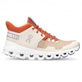 On Sneakers Cloud Hi Edge Sabbia Bianco Donna