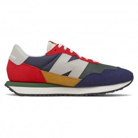 New Balance Sneakers 237 Suede Mesh Verde Grigio Rosso Uomo