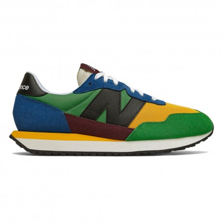 New Balance Sneakers 237 Suede Mesh Verde Nero Giallo Uomo