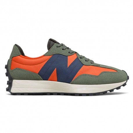 New Balance Sneakers 327 Suede Mesh Arancio Blu Uomo