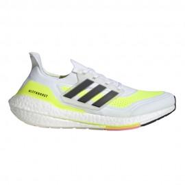 ADIDAS scarpe running ultraboost 21 ftw bianco giallo donna