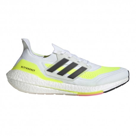 ADIDAS scarpe running ultraboost 21 ftw bianco giallo uomo