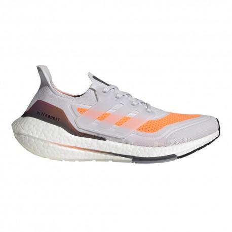 ADIDAS scarpe running ultraboost 21 bianco arancio uomo