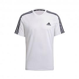 ADIDAS maglietta palestra 3stripes bianco uomo