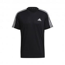 ADIDAS maglietta palestra 3stripes nero uomo