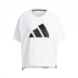 ADIDAS maglietta palestra logo crop bianco donna