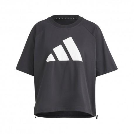 ADIDAS maglietta palestra logo crop nero donna
