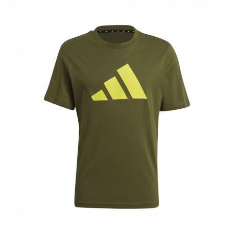 ADIDAS maglietta palestra logo verde uomo