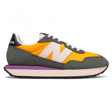 New Balance Sneakers 237 Suede Mesh Giallo Bianco Donna