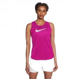 Nike Canotta Running Swoosh Rosso Grigio Donna