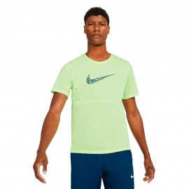 Nike Maglia Running Breathe Verde Nero Uomo