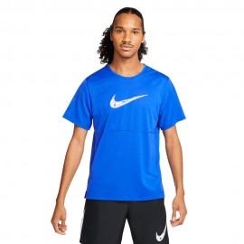 Nike Maglia Running Breathe Blu Bianco Uomo