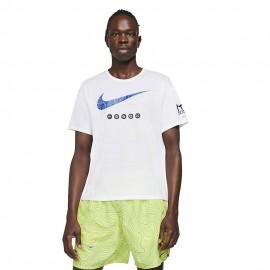 Nike Maglia Running Miler Tokyo Bianco Nero Uomo