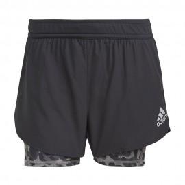 ADIDAS pantaloncini running 2in1 primeblue nero grigio donna