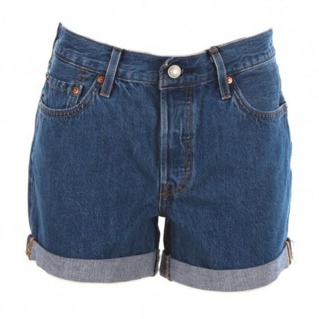 Levi's Shorts 501 S/Strappi Blu Medio Donna
