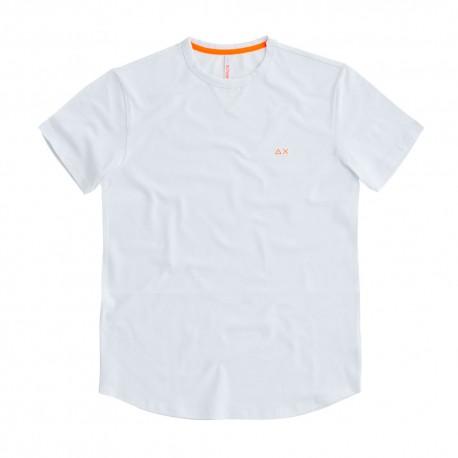 Sun 68 T-Shirt Tessuto Piquet Bianco Uomo