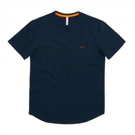 Sun 68 T-Shirt Tessuto Piquet Blu Uomo