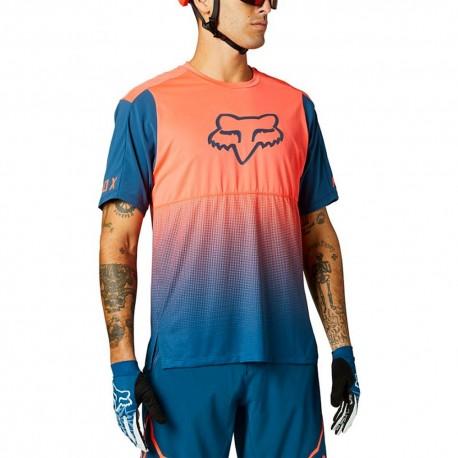 Fox T-Shirt MTB Flexair Arancio Blu Uomo