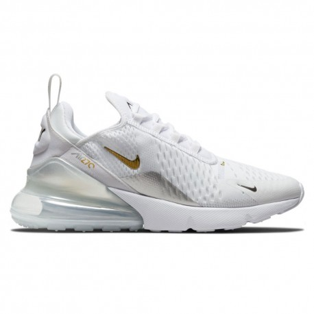 Nike Sneakers Air Max 270 Ess Bianco Metallico Oro Donna