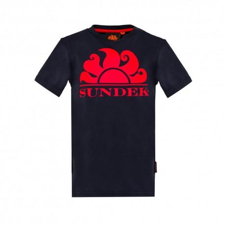 Sundek T-Shirt Mare Logo Sole Blu Bambino