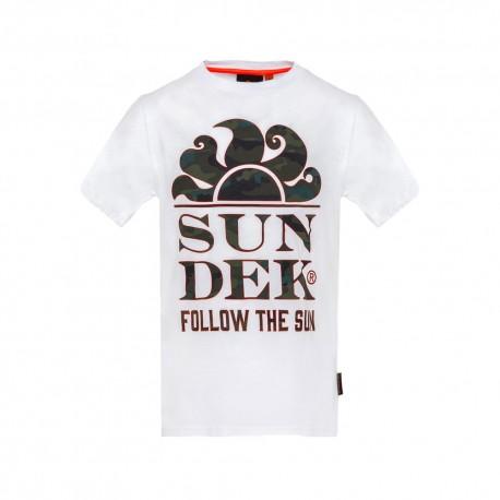 Sundek T-Shirt Mare Logo Sole Con Scritta Bianco Bambino