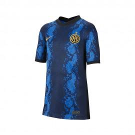 Nike Maglia Maniche Corte Inter Home 21/22 Blu Oro Bambino