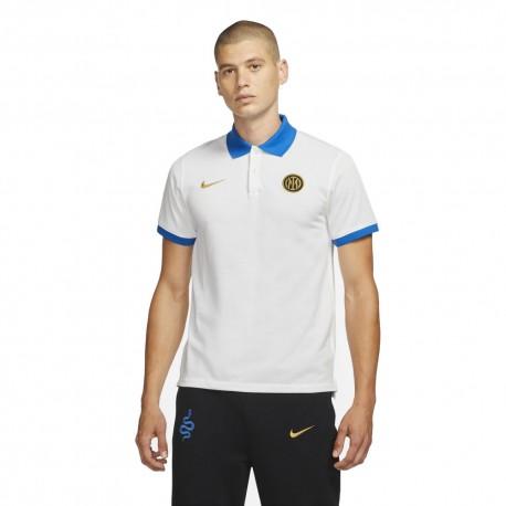 Nike Polo Calcio Inter Slim Bianco Blu Uomo