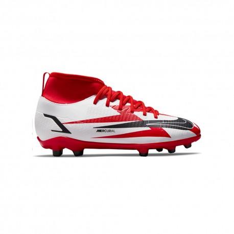 Nike Scarpe Da Calcio Superfly 8 Club Cr7 Fg/Mg Rosso Bianco Bambino