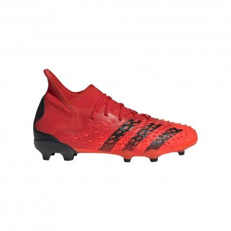 ADIDAS scarpe da calcio predator freak .1 fg rosso nero bambino