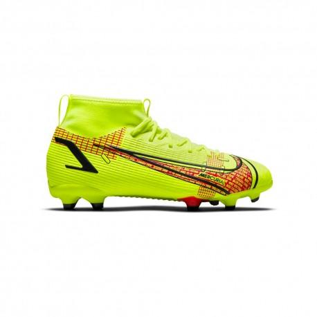 Nike Scarpe Da Calcio Superfly 8 Academy Fg/Mg Lime Rosso Bambino