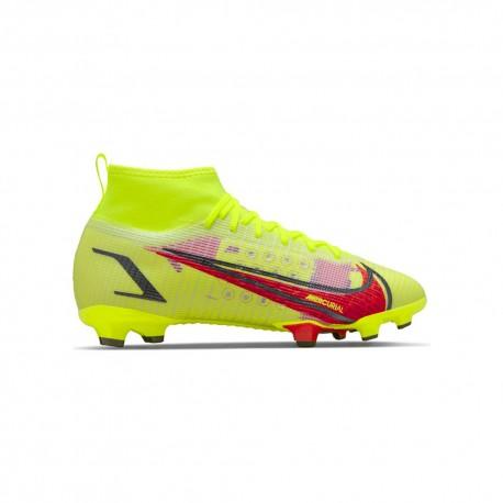 Nike Scarpe Da Calcio Superfly 8 Pro Fg Lime Rosso Bambino