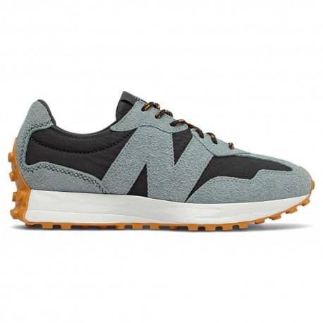 New Balance Sneakers 327 Nylon Suede Nero Grigio Uomo