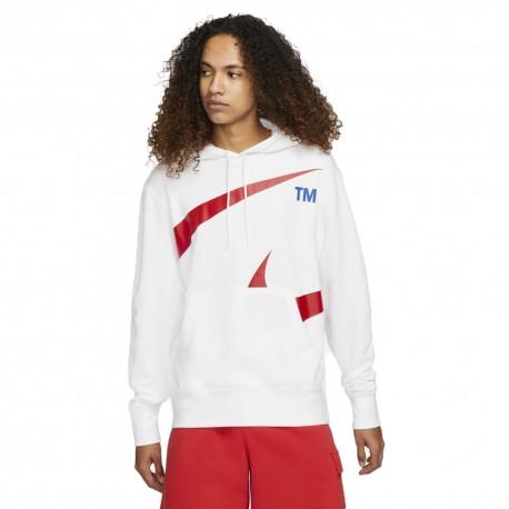Nike Felpa Con Cappuccio Swoosh Bianco Uomo