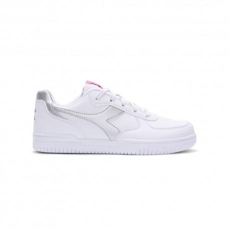 Diadora Sneakers Raptor Low Gs Bianco Argento Bambina