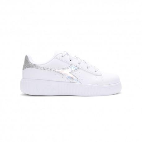 Diadora Sneakers Game Step Diamonds Ps Bianco Argento Bambina