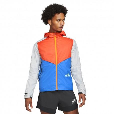 Nike Giacca Trail Running Windrunner Arancio Blu Grigio Uomo