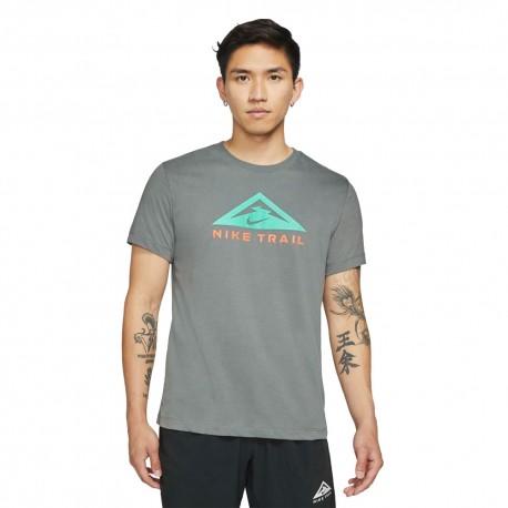 Nike T-Shirt Trail Running Dri Fit Grigio Uomo