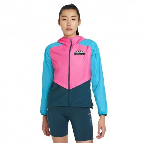 Nike Giacca Trail Running Shield Rosa Azzurro Nero Donna